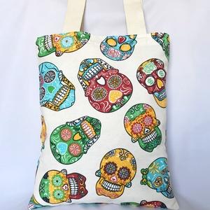 Mexikói Koponyás Szatyor Drapp, Shopper, textiltáska, szatyor, Bevásárlás & Shopper táska, Táska & Tok, Varrás, Trendi szatyor színes mexikói koponyákkal vastag vászonból. Egyszerűen tisztán tartható és sok minde..., Meska