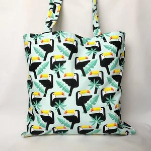 Tukán Madaras Zöld Szatyor, Táska, Divat & Szépség, Táska, Szatyor, Varrás, Egzotikus tukán madár mintájú, jól pakolható szatyor divatos dizájnnal, kényelmes hosszú fülekkel.\nS..., Meska