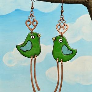 Zöldike, zöld madár, madár fülbevaló, madaras fülbevaló, zöld madaras fülbevaló (Neki) - Meska.hu