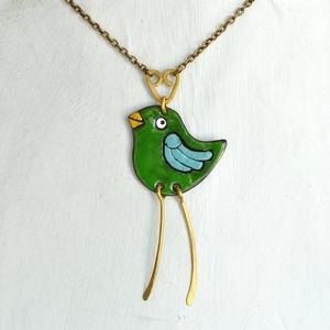 Zöld madár, tűzzománc nyaklánc, zöldike, madár nyaklánc, madár medál, madaras medál, madaras nyaklánc, galamb nyaklánc (Neki) - Meska.hu
