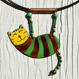 Leonel a légtornász macska, Ékszer, Nyaklánc, Medálos nyaklánc, Tűzzománc, Tűzzománc nyaklánc, a Rodrigez Cirkusz kollekcióból. Karlosz a légtornász macska, alig várja, hogy v..., Meska
