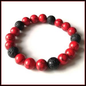 Piros türkíz ásványi karkötő lávakővel, 1 cm-es, gömb alakú magas minőségű természetes féldrágakövekből, Ékszer, Karkötő, Ékszerkészítés, Piros türkíz ásványi karkötő lávakővel, 1 cm-es, gömb alakú magas minőségű természetes féldrágakövek..., Meska