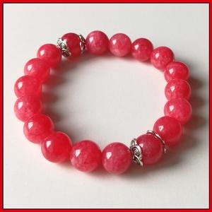 Piros jáde ásványi karkötő, 1 cm-es, gömb alakú magas minőségű természetes féldrágakövekből, Ékszer, Karkötő, Ékszerkészítés, Piros jáde ásványi karkötő, 1 cm-es, gömb alakú magas minőségű természetes féldrágakövekből\n\nKülönle..., Meska