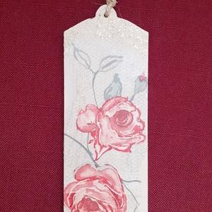 Rózsás könyvjelző, Könyvjelző, Papír írószer, Otthon & Lakás, Decoupage, transzfer és szalvétatechnika, 5x15 cm-es dekupázsolt könyvjelző. , Meska