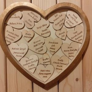 Szívhez szóló emlék, Otthon & Lakás, Dekoráció, Gravírozás, pirográfia, 20,5x22 cm-es szív alapot díszítettem fa szívekkel, melyre faégetéssel vittem fel a kért szöveget. A..., Meska