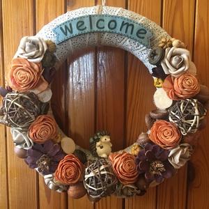 Sünis őszi ajtódísz, Otthon & Lakás, Dekoráció, Ajtódísz & Kopogtató, Virágkötés, Meska