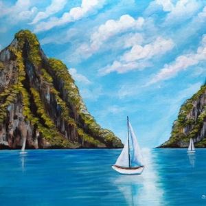Földi paradicsom, akril festmény, Művészet, Festmény, Akril, Festészet, Tenger, sziklák, bodros felhők, nyugalom.... El tudnám képzelni, hogy ott éljek..\nA festmény akrilfe..., Meska