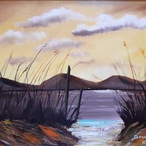 Ösvény a folyóhoz, olajfestmény, Művészet, Festmény, Olajfestmény, Festészet, 30x40-es méretben készült olajfestmény, művész olajfestékek, ecset, festőkés felhasználásával, három..., Meska