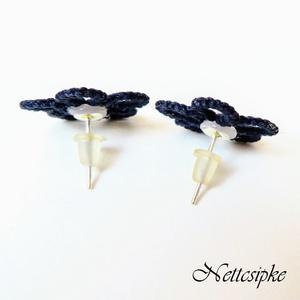 Hajócsipke fülbevaló, csipke  ékszer, kék bedugós fülbevaló, gyöngyös kiegészítő (Nettcsipke) - Meska.hu