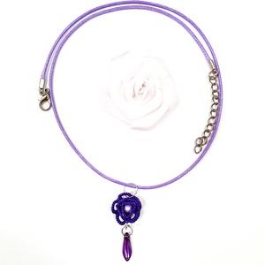 Hajócsipke nyaklánc, csipke ékszer, lila rózsás, csipkés kiegészítő, gyöngyös, romantikus, egyedi nyakék - Meska.hu