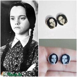 Wednesday Addams - Addams Family pici bedugós fülbevaló, Ékszer, Fülbevaló, Ékszerkészítés, Zsugorka, Fehér zsugorkából készült pici fülbevaló. Addams Family rajongóknak kötelező darab! (\n \n~ 15 mm-es ..., Meska