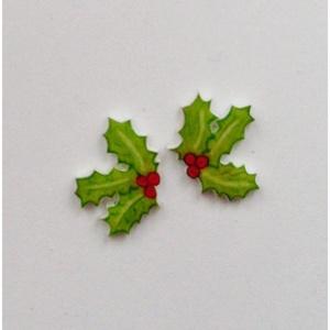 Karácsonyi magyal - pici bedugós rajzolt fülbevaló (Neverland) - Meska.hu