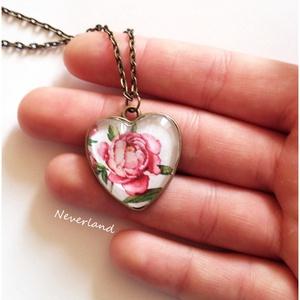 Vintage virágos bronz medál - nyakláncon (Neverland) - Meska.hu