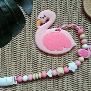 Rágcsalánc flamingó rágókával, Gyerek & játék, Baba-mama kellék, Gyerekszoba, Játék, Gyöngyfűzés, gyöngyhímzés, Fogzást segítő szilikon elemekből készült rágcsalánc.\nHasznos segítség a fogzás időszakában és igazá..., Meska