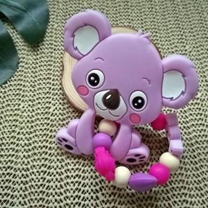 Maroklánc koala rágóka figurával, Gyerek & játék, Baba-mama kellék, Gyerekszoba, Játék, Gyöngyfűzés, gyöngyhímzés, Fogzást segítő szilikon elemekből készült maroklánc koala szilikon rágóka figurával.\nA marokláncon a..., Meska