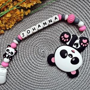 Rágcsalánc névvel panda maci rágókával, Játék & Gyerek, 3 éves kor alattiaknak, Rágóka, Gyöngyfűzés, gyöngyhímzés, Fogzást segítő szilikon elemekből készült rágcsalánc.\nHasznos segítség a fogzás időszakában és igazá..., Meska