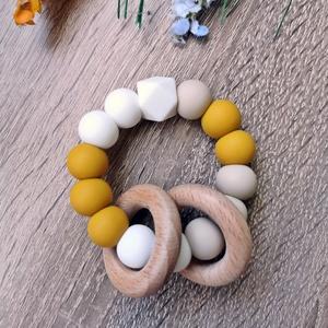 Marokrágcsa / Rágókarika, Játék & Gyerek, 3 éves kor alattiaknak, Rágóka, Gyöngyfűzés, gyöngyhímzés, Fogzást segítő szilikon gyöngyökből készült marokrágcsa.\n\nA változatos színek és formák felkeltik a ..., Meska