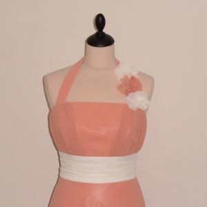 Muszlin alkalmi ruha esküvőre, Esküvő, Menyasszonyi ruha, Táska, Divat & Szépség, Ruha, divat, Varrás, Púder és krém színű  loknis szoknyájú alkalmi ruha, levehető nyakpánttal. \nA ruha muszlinból és szat..., Meska
