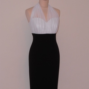 Fekete-fehér  ünneplő ruha , Ruha & Divat, Női ruha, Ruha, Varrás, Nyakpántos mell alatt vágott testhez álló ruha fekete rugalmas szövetből és fehér színű muszlin anya..., Meska