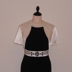 Ekrű-fekete alkalmi ruha boleróval, Ruha & Divat, Női ruha, Alkalmi ruha & Estélyi ruha, Varrás, Nyakrészes derékban vágott szatén betétes egyenes vonalú ruha  fekete szövetből és ekrű szaténból.\nA..., Meska