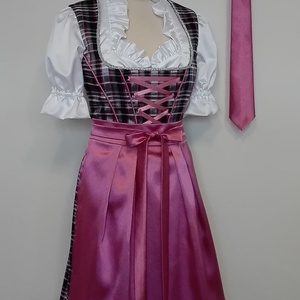 Dirndl menyecske ruha és nyakkendő , Esküvő, Ruha, Menyecske ruha, 5 részes dirndl ruha rugalmas szaténból és színjátszó kockás anyagból készült. A ruhához tartozik eg..., Meska