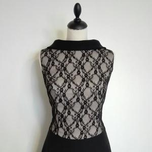 Bézs- fekete elegáns ruha, Ruha & Divat, Női ruha, Alkalmi ruha & Estélyi ruha, Loknis szoknyájú alkalmi ruha fekete csipke és bézs-fekete rugalmas jó minőségi szövetből. A ruha bé..., Meska