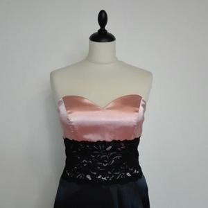 Csipkés alkalmiruha esküvőre, Ruha & Divat, Női ruha, Alkalmi ruha & Estélyi ruha, Varrás, Fekete-púder színű szatén váll nélküli alkalmi ruha derékban karcsúsító fekete csipkével bálra,szala..., Meska