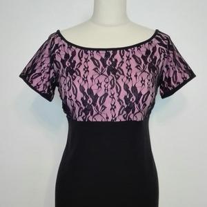 Csipkés felső , Ruha & Divat, Női ruha, Póló, felső, Kármen nyakú csipkés rugalmas felsőrész rózsaszín és fekete jó minőségű pamut anyagból.  Mérete:42-e..., Meska