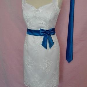 Szatén öv és nyakkendő szett, Táska, Divat & Szépség, Ruha, divat, Öv, Varrás,  Királykék színű masnis  szaténöv esküvői ruhára.\nMéretre rendelhető 80 cm-ig.\nHozzá tartozó nyakken..., Meska
