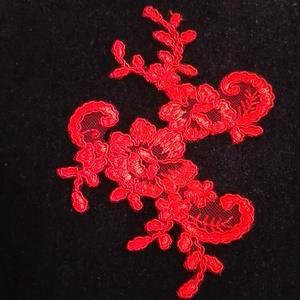 Csipke , Textil, Felvarrható kellék, Varrás, 10x 14 cm piros zsinórozott csipke rátét, Meska