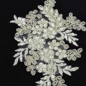 Csipke , Textil, Felvarrható kellék, Varrás, 10x 13,5 cm világos arany zsinórozott flitteres csipke rátét, Meska