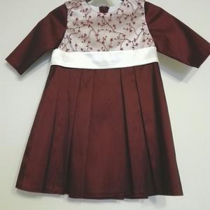 Kislány alkalmiruha, Ruha & Divat, Babaruha & Gyerekruha, Ruha, Alkalomra,szülinapra és esküvőre ajánlom ezt a masnis kislányruhát. A ruha krém színű szaténból,bord..., Meska