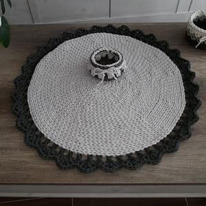 Horgolt szőnyeg szett kis tárolóval oliva-natúr (NicoleHorgoltDekor) - Meska.hu
