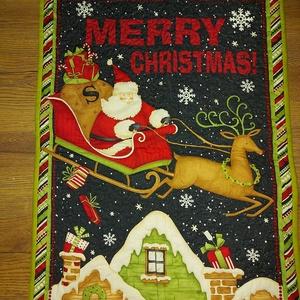 Mikulás / karácsonyi falvédő, Karácsony & Mikulás, Mikulás, Varrás, Egy 69x51 cm a falvédő.\nMi 3 féle képen szoktuk felhasználni. Vagy ide rakjuk a csizmákat, vagy a mi..., Meska