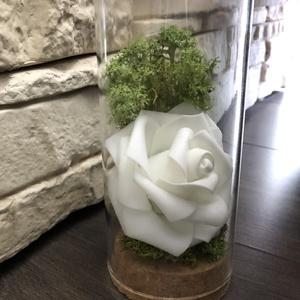 Örökrózsa üvegburában, Otthon & lakás, Dekoráció, Ünnepi dekoráció, Anyák napja, Lakberendezés, Asztaldísz, Kötés,  A tökéletes ajándékot keresed? Nincs még ötleted? Olyan virágot szeretnél, mely örökké tart?\n\nHa va..., Meska