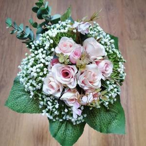 Mini rózsás menyasszonyi örökcsokor , Esküvő, Menyasszonyi- és dobócsokor, Virágkötés, Gyönyörű örökcsokor, minőségi rózsaszín selyemrózsákból kötve, akár menyasszonyi csokorként, akár sz..., Meska
