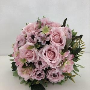 Halvány, púder rózsaszín rózsás menyasszonyi örökcsokor, Esküvő, Menyasszonyi- és dobócsokor, Virágkötés, Meska