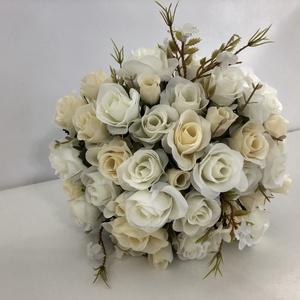 Fehér mini rózsás menyasszonyi örökcsokor, Esküvő, Menyasszonyi- és dobócsokor, Virágkötés, Meska