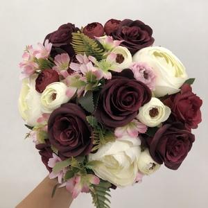 Bordó és fehér rózsás menyasszonyi örökcsokor, Esküvő, Menyasszonyi- és dobócsokor, Virágkötés, Meska