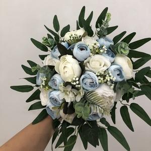 Kék-fehér rózsás és bazsarózsás menyasszonyi örökcsokor, Esküvő, Menyasszonyi- és dobócsokor, Virágkötés, Meska