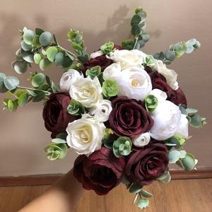 Bordó és fehér rózsás menyasszonyi örökcsokor - Meska.hu