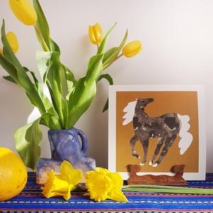 Szürke pöttyös kanca // illusztráció, Művészet, Grafika & Illusztráció, Festészet, digitális print 220 grammos Rives Laid natúr fehér papíron\nméret 21 x 21 cm\nszignózott , Meska