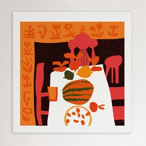 Csendélet ebéd után  // illusztráció, Művészet, Grafika & Illusztráció, Festészet, digitális print 220 grammos Rives Laid natúr fehér papíron\nméret 21 x 21 cm\nszignózott , Meska