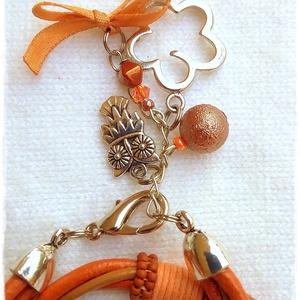 Narancs-karamell bőrszálas karkötő  (nikolbijou) - Meska.hu