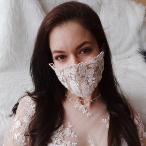 Menyasszonyi designer csipke maszk, Esküvő, Esküvői ékszer, Esküvői dekoráció, Varrás, Ezt a menyasszonyi csipke maszkot azoknak terveztem és készítettem, akik a jelenlegi helyzetben is m..., Meska