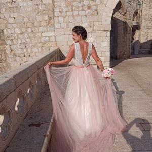 Púderrózsaszín menyasszonyi ruha uszály, Bolero, Ruha, Esküvő, Varrás, Pillanatok alatt, egyszerűen levehető menyasszonyi uszály, gyönyörű púderrózsaszín színben.\nAz uszál..., Meska