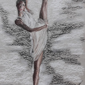 Elegáns balerina modern pasztell festmény, Otthon & lakás, Dekoráció, Képzőművészet, Kép, Festmény, Pasztell, Napi festmény, kép, Festészet, Fotó, grafika, rajz, illusztráció, 26*39 cm-es porpasztell alkotás egy balerina izgalmas mozdulatáról.\nA kép 34*49 cm-es elegáns, ezüst..., Meska