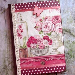 Rózsaszín-bordó rózsás-orchideás napló - RENDELHETŐ, Otthon & lakás, Naptár, képeslap, album, Jegyzetfüzet, napló, Konyhafelszerelés, Dekoráció, A képen látható gyönyörű napló már elkelt, de hasonlót tudsz rendelni! :) 2-3 nap alatt lesz készen...., Meska