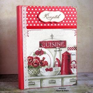Piros virágos vintage konyha receptkönyv - RENDELHETŐ (NikoLizaDekor) - Meska.hu
