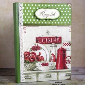 Virágos vintage konyha zöldben receptkönyv - RENDELHETŐ (NikoLizaDekor) - Meska.hu